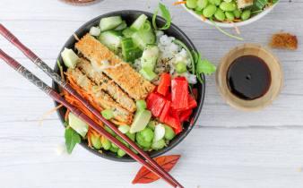 Crispy chicken sushi bowl