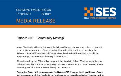 MEDIA RELEASE from NSW SES Richmond Tweed Region