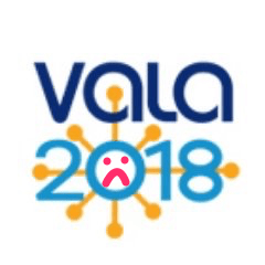 VALA2018 logo with sadface
