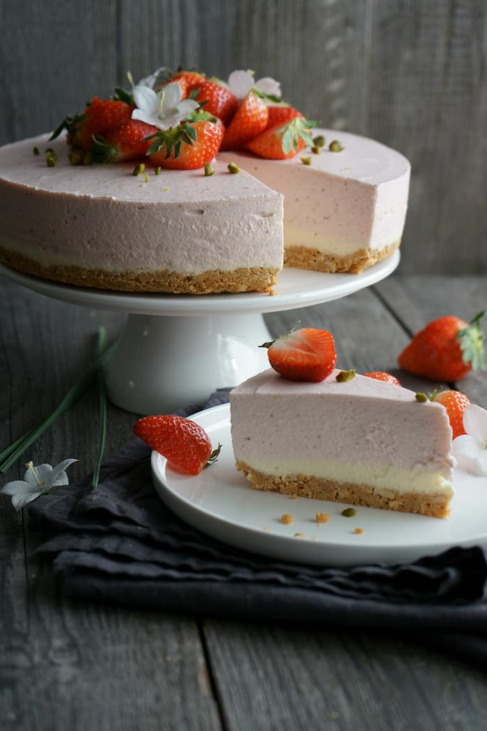 Erdbeer Mascarpone Cheesecake no-bake