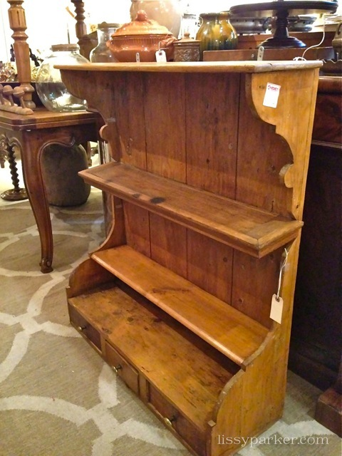 Great shelf with three drawers—could see in a kitchen or bathroom