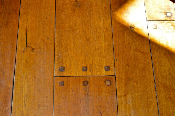 The whole house features these stunningly beautiful reclaimed Brazilian Walnut floors with hand hammered square nails