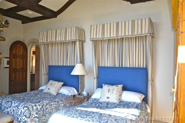Blue and White is a great color for this guest room off the hall