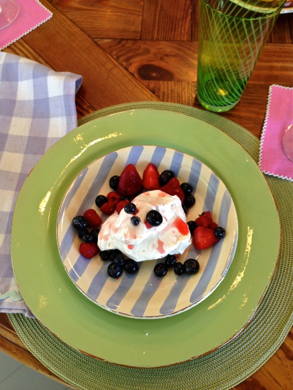 Dessert was Pavlovas made in a friends new Aga ... more on that later