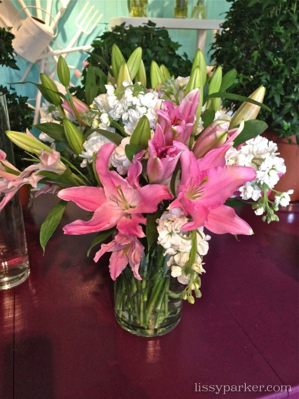Pink lilies and stocks