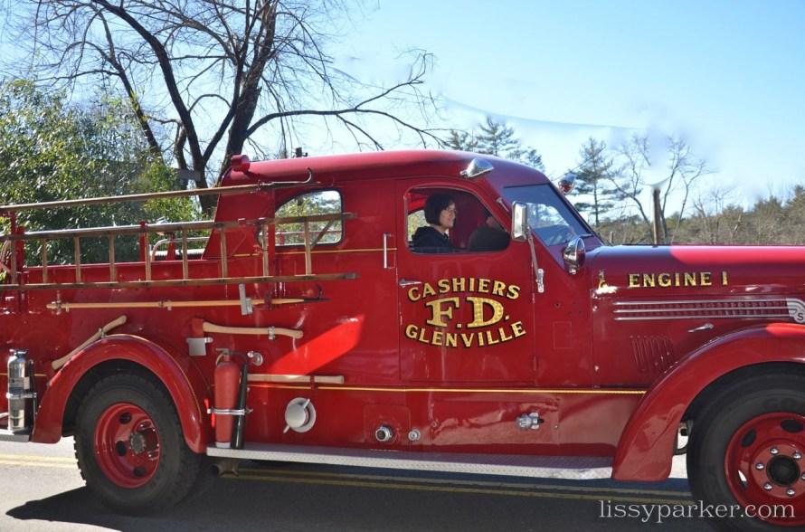 Antique firetrucks were shiny and bright