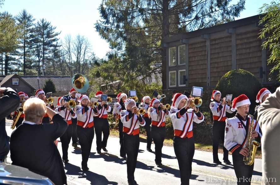 Marching bands played Christmas favorites