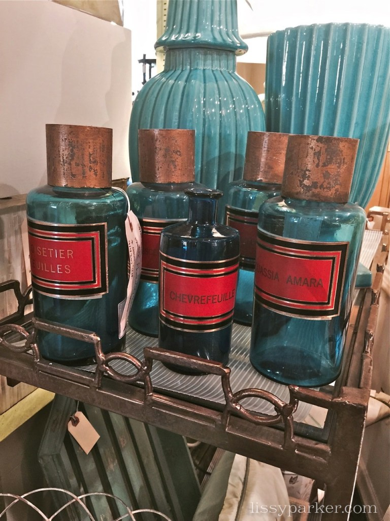 beautiful aqua glass apothecary jars