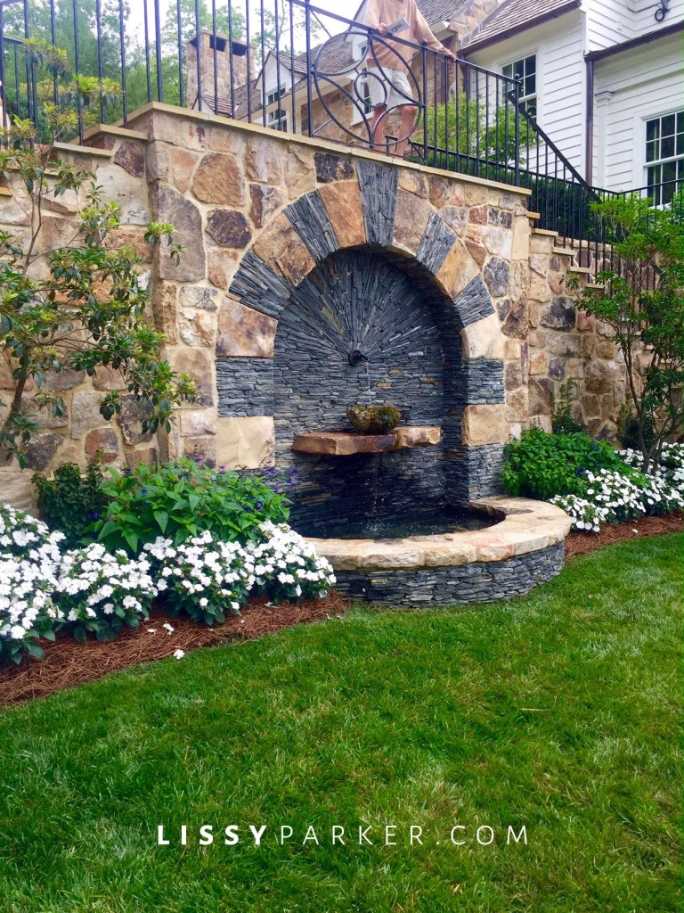 stone and slate water feature
