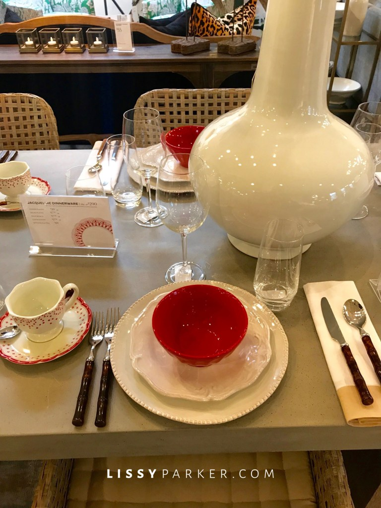 red and white china