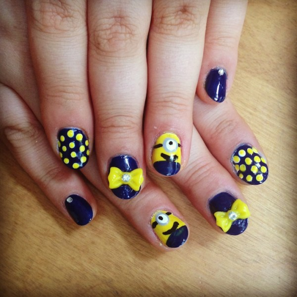 Despicable Me Nail Art with bow