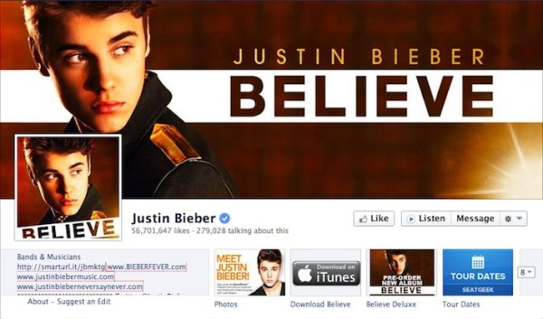 Justin Bieber Facebook Fanpage