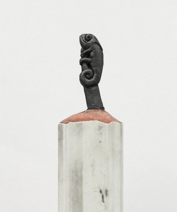 Chameleon carved in pencil