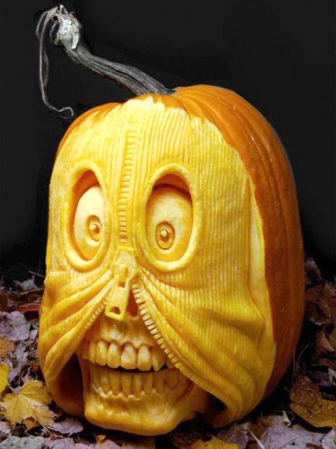 zipper pumpkin carving