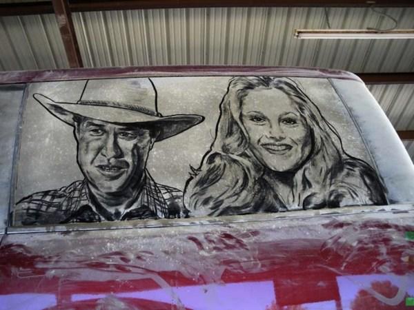 Dirty car window art, Steve and Charlene - Dallas