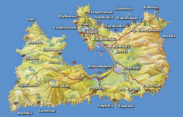 mapa estradas milos