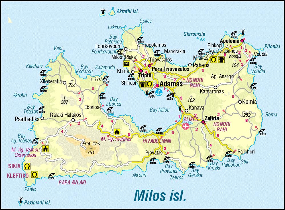 mapa Milos