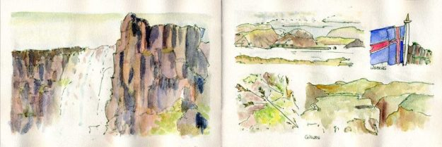 ink and wash drawings of Iceland landscapes