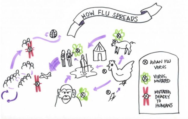 Drawing of the trajectory of the spread of a deadly disease
