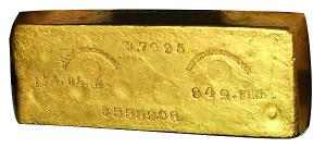 solid gold bar marked for authenticity and value