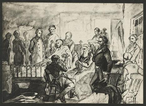 Drawing of President Abraham Lincoln's deathbed scene by Hermann Faber who served as an artist for the Surgeon General. He made two drawings of the deathbed scene before the room was cleared.