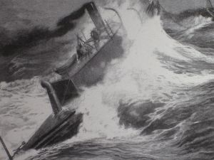 """The Destroyer"" toed through rough seas"
