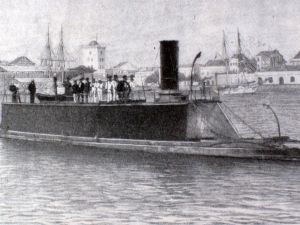 """The Destroyer""  afloat at Sandy Hook , New Jersey, Captained by Joshua Slocum and bound for Brazil."