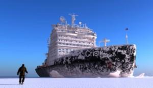 Ice Breaker cutting through arctic ice