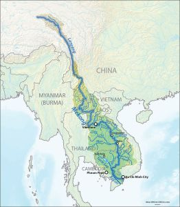 The great Mekong River  flows through China, Laos, Vietnam and Combodia