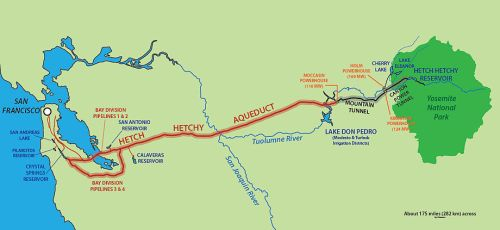 Map of the Hetch Hetchy Aquaduct  to San Francisco, California