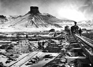 Bridge at Green River under construction in 1868