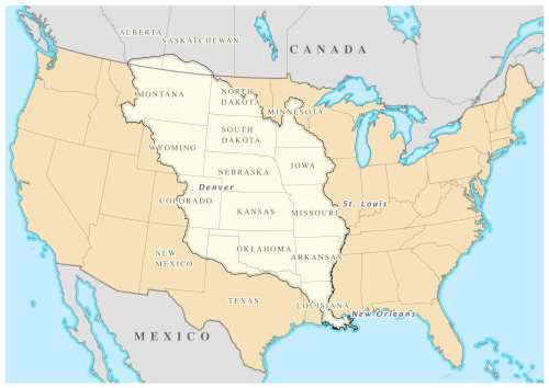 Territory marked n white was purchased by the United Staters from France in 1803