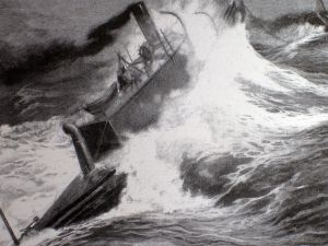 THE DESTROYER at sea being towed from the United States to Brazil through rough waters.