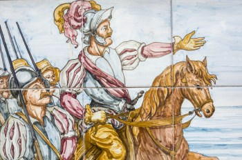 Spanish Colonists panted on tile