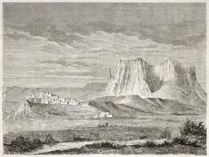 Old view of Zuni Pueblo drawn by Lancelot ad published Le Tour De Mond, Paris 1860