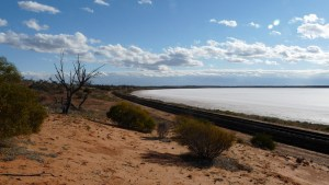Photograph of the salt lake, Lake Hart, in desert country near Woomera.