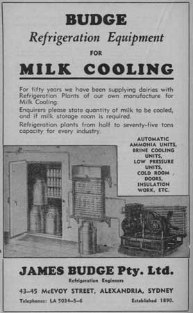 Advertisement for milk coolers, 1940s.