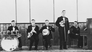 Photo showing the 5 members of the Jamestown Dance Orchestra c1930.