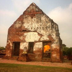 You can just make out the Buddha cocooned inside the temple ruins.