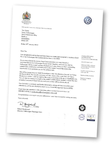 Gold Pin Awarded for Service to Volkswagen