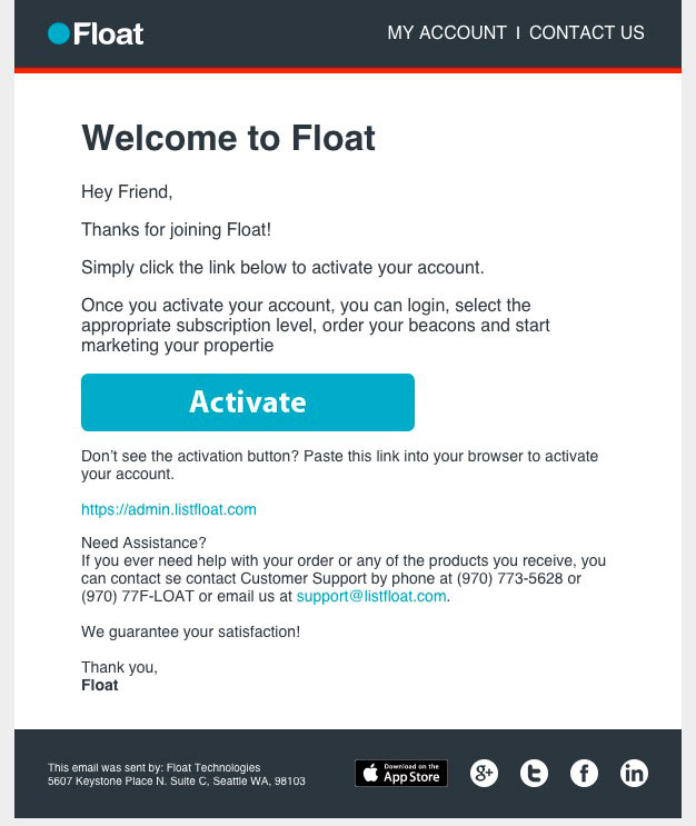 Float Activation Email