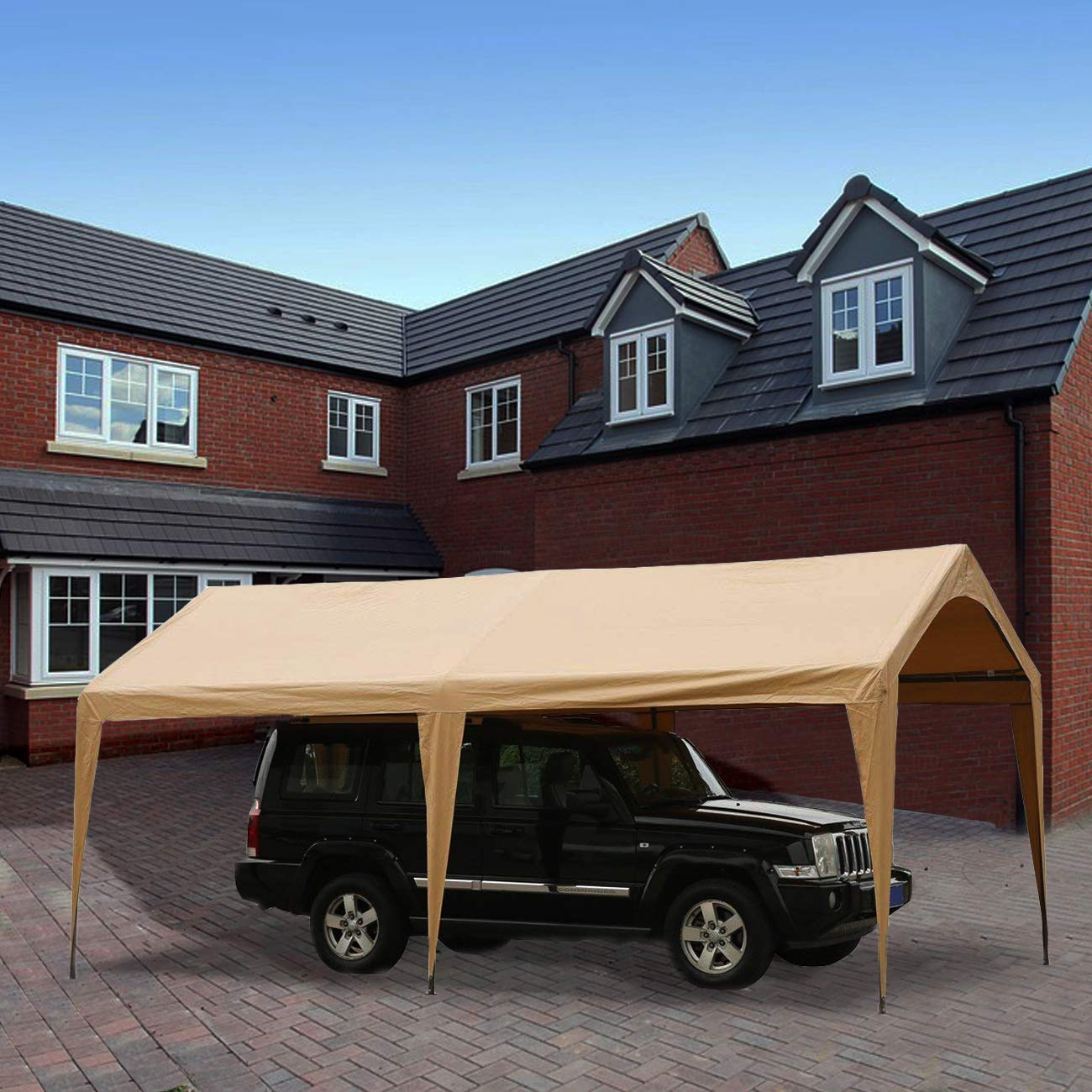 Abba Patio 10 X 20 Foot Portable Outdoor Carport Canopy With 6 Steel Legs Beige 818547025062