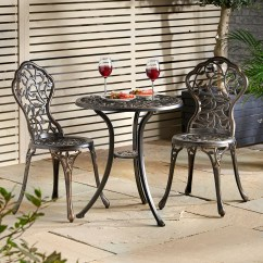 2 Chair Bistro Set Wrought Iron Lounge Vonhaus Cast Aluminium Outdoor Garden 3 Piece