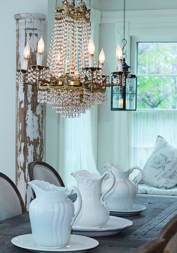 35 Beautiful Shabby Chic Dining Room Decoration Ideas Listing More Farmhouse Table And Crystal Chandelier