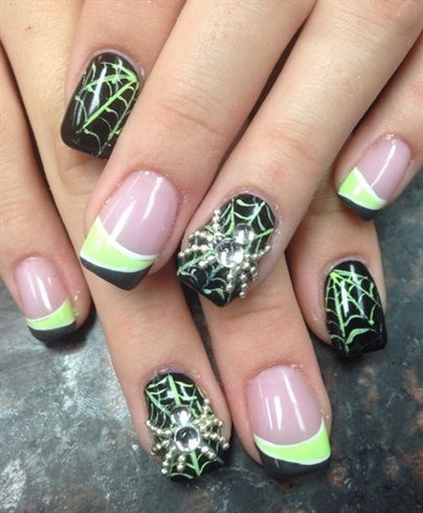 Studded Spiders Nail Art