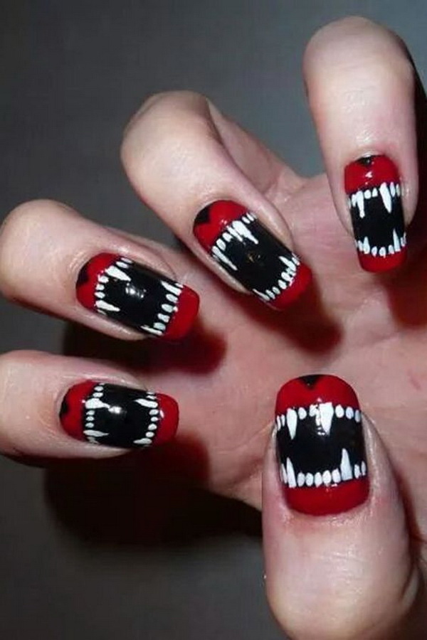 Y Red Black And White Nails