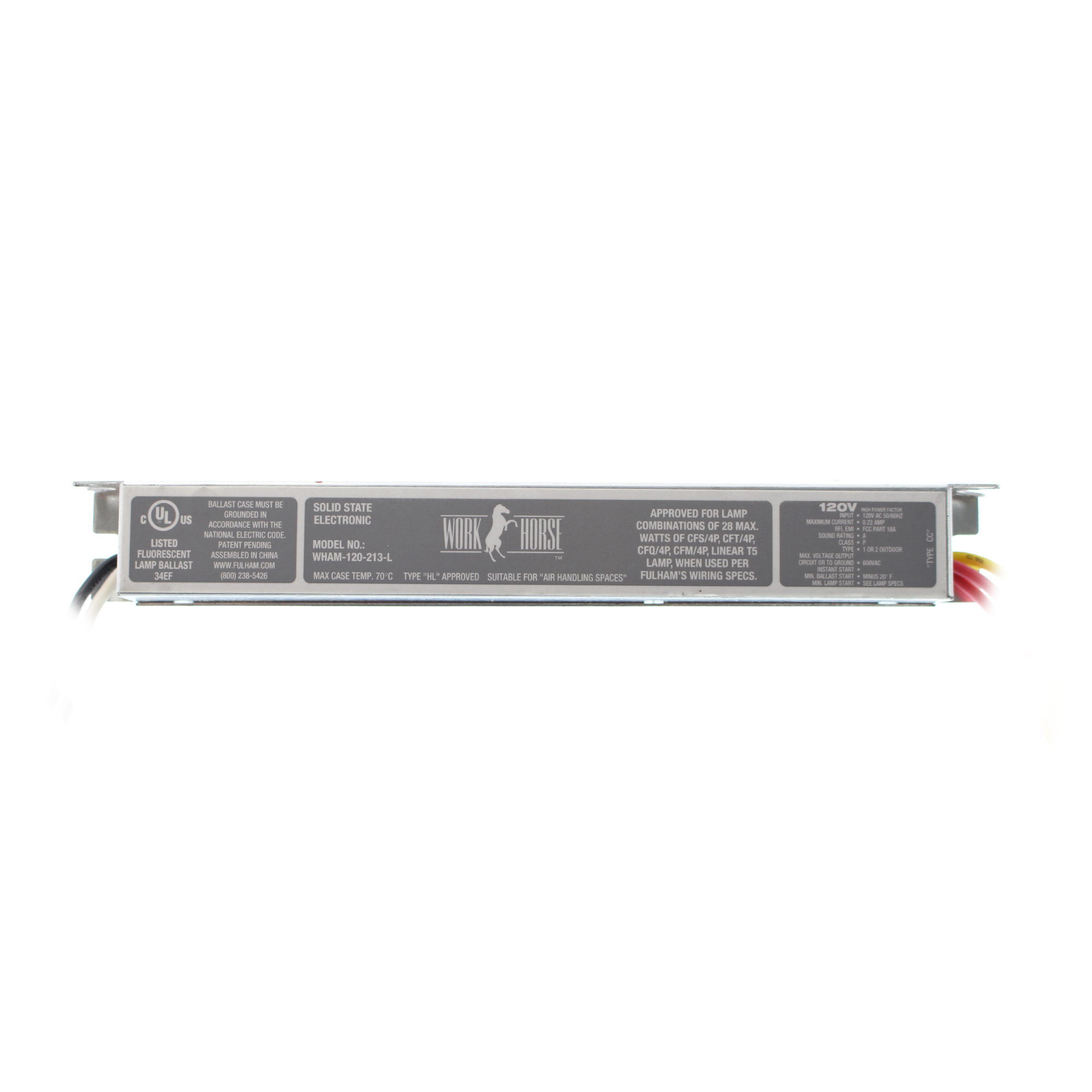 hight resolution of this auction is for 1 fulham wham 120 213 l workhorse fluorescent ballast 2 lamp cfl t5 120 277v