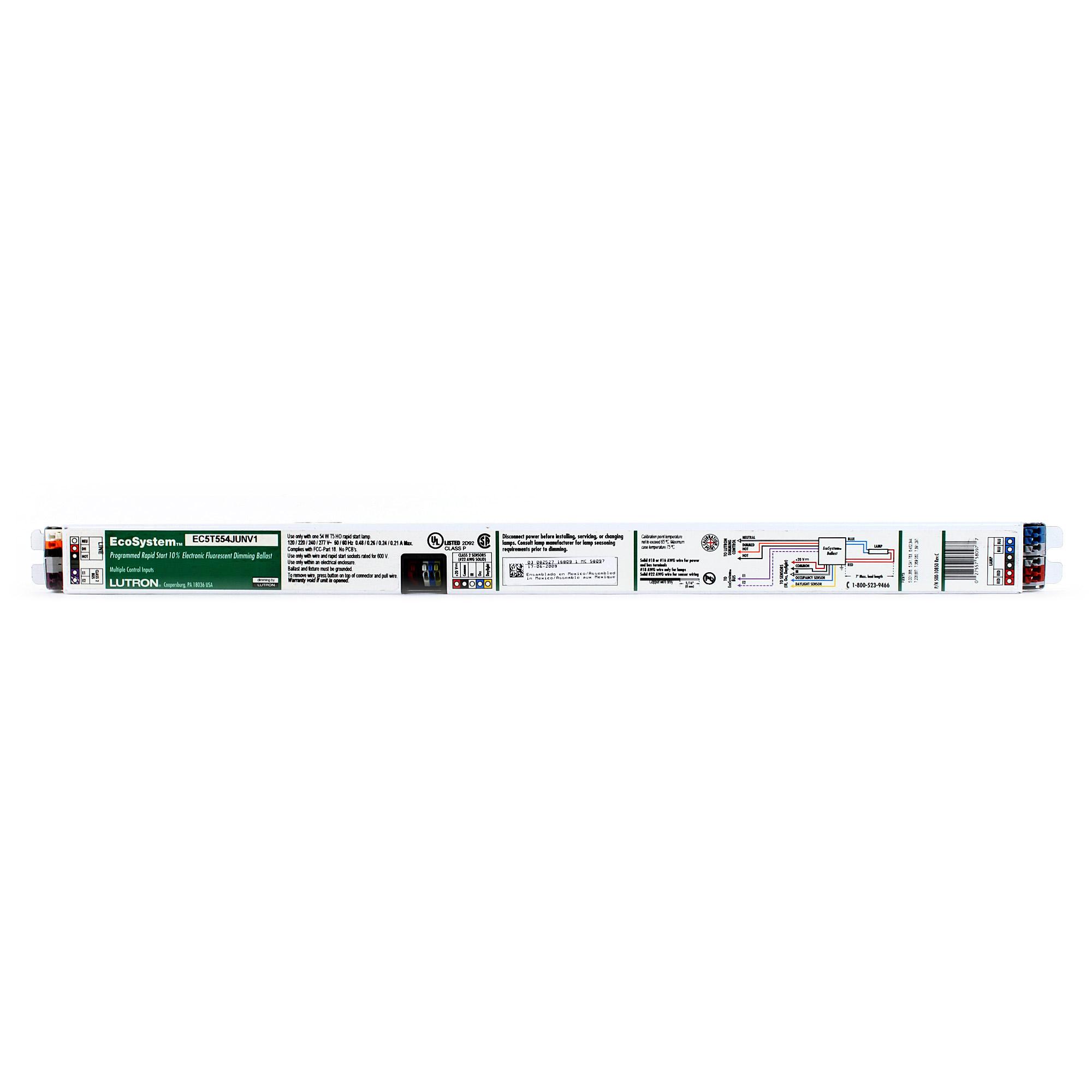 fluorescent dimming ballast wiring diagram simple room lutron ec5t554junv1 eco t5ho