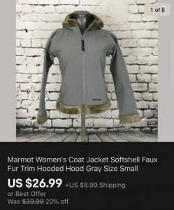 Marmot Jacket Sold On eBay