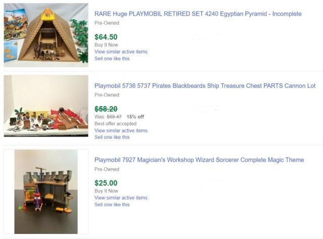 Playmobil Sets Sold On eBay
